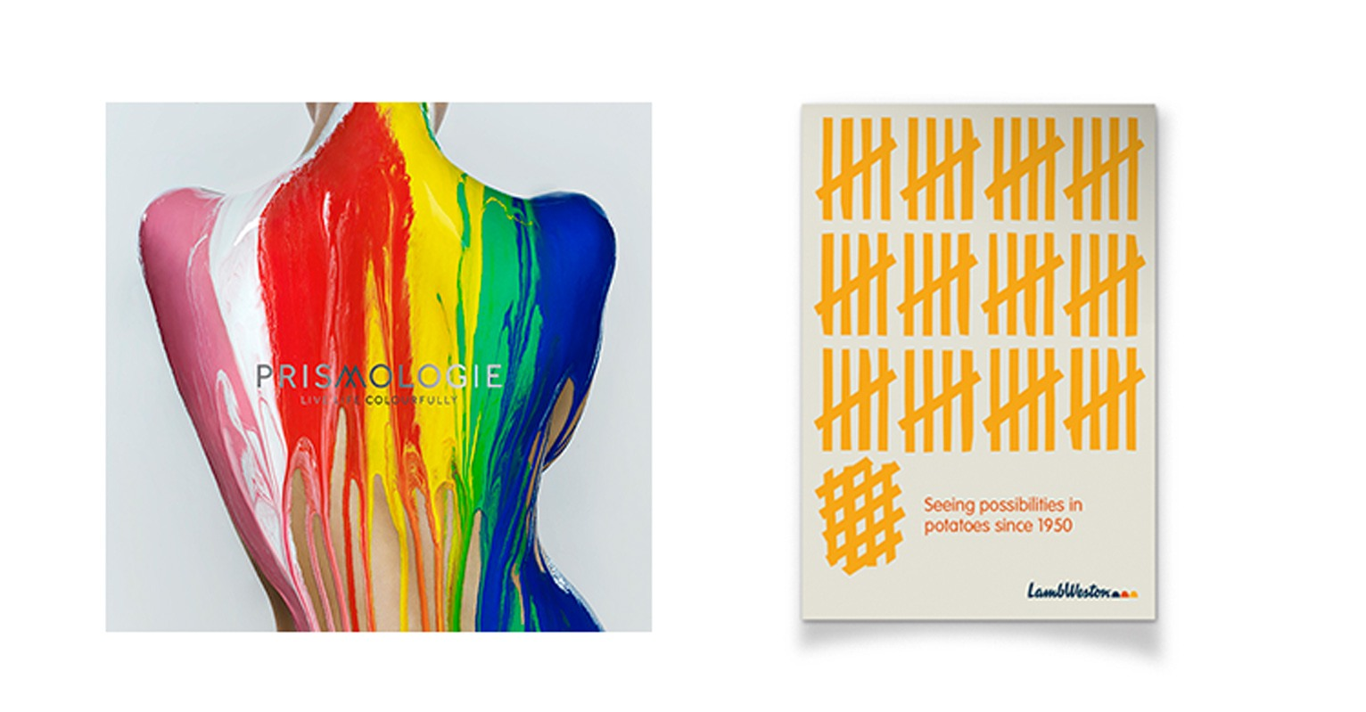 mobius awards, prismologie, lamb weston, potatoes posters, brand, identity, woman, paint ,colourful, dripping, noughts and crosses