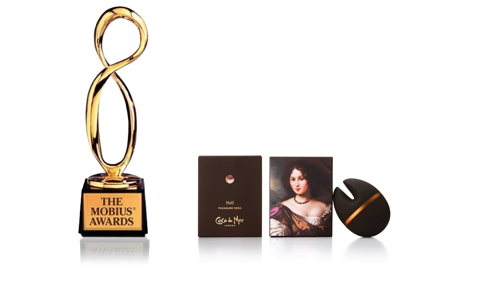 mobius awards win statue coco de mer packaging boxes and dildo toy