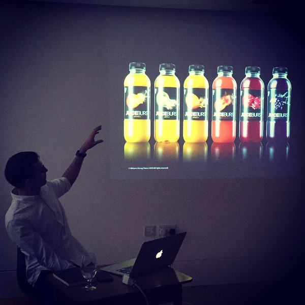 Designer, Chris Ribet, giving talk to Idep Barcelona students and presenting JuiceBurst